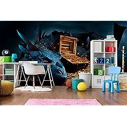 Fotomural Vinilo Pared Dragón | Fotomural para paredes | Mural | Vinilo Decorativo | Varias Medidas 350 x 250 cm | Decoración comedores, salones, habitaciones...