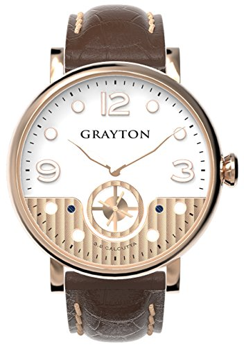 Grayton S.8 Calcutta Men's Quartz Watch with White Dial Analogue Display and Brown Leather Strap GR-0014-007.1