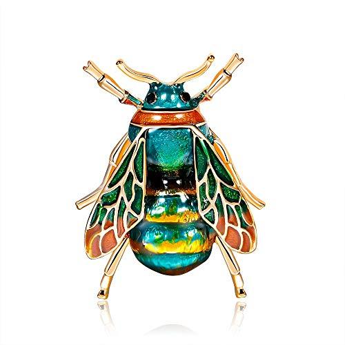 Nosterappou Tropfen Öl zarte Kleine Biene Pin Kleidung passende Accessoires Mode einfache Insekt Tier Brosche zarte Wilde Kragen Pin Modeschmuck Geschenk (Farbe : Green)