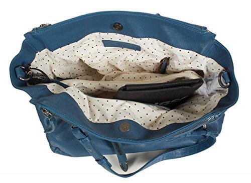 FREDsBRUDER Lucky Star Shopper sac à bandoulière en cuir souple (37 x 27 x 12 cm) bleu