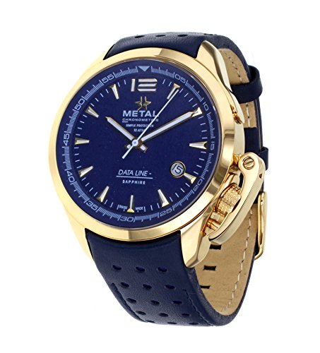 metal-ch-data-line-mens-quartz-watch-with-blue-dial-analogue-display-and-blue-leather-strap-835341