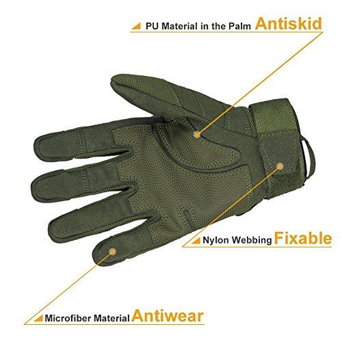 Limirror Herren Taktische Handschuhe Handschuhe Fahrradhandschuhe Motorrad Handschuhe outdoor sport Handschuhe Fitness Handschuhe Army Gloves Ideal für Airsoft, Militär, Paintball, Airsoft, Jag (Grün, L) - 3