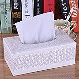 SoleSu Tissue Box porta-tovaglioli di carta, PU Scatola porta fazzoletti---Weiß