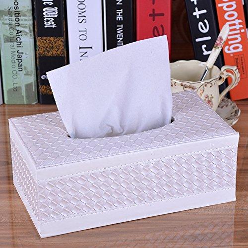 SOEKAVIA Cuero PU Kleenex Cajas Tissue Box pañuelos (Cajas cosméticos Caja para casa y Coche Grande y pequeña, Color Weiß Strick Grande
