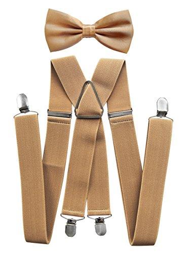 axy® Hochwertige Herren Hosenträger mit Fliege - 4 Starken Clips X-Form (Beige (Hosenträger Breit 3,5cm))