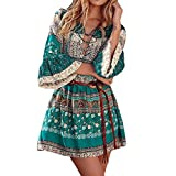 Longra Damen Bohemian Strandkleid 3/4-Arm Sommerkleid Minikleider Tunikakleid Bohemian Strandtunika Damen Vintage Bluse Kleider Kurze Kleider Sommer A-Linie Kleid (Green, M)