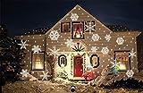 SCHNEE FLOCKEN Projektor mit WEISSEN SCHNEE FLOCKEN - Motiven - Weihnachtsbeleuchtung - Gartenleuchte Outdoor Lampe EINFACH INSTALLIERT
