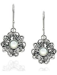 Filigrana flor 925 pendientes de plata de ley con Madre de Perla De Moda  Joyería de 2f84be3a1ca