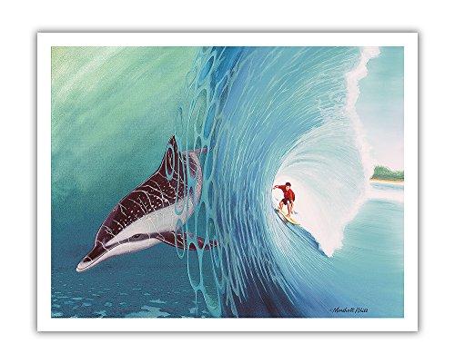 Pacifica Island Art Surf Buddies-Hawaiian Surfer und Dolphin (Nai 'a) die Wellen Reiten-Ursprüngliche Farbe Malerei von Marshall Weiß-Hawaiian Fine Art Print 11