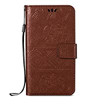 Honor 9 Case, ESSTORE-EU Retro Elephant Embossing PU Leather Protective Covers with Card Slot Holder Wallet Case for Huawei Honor 9, Brown