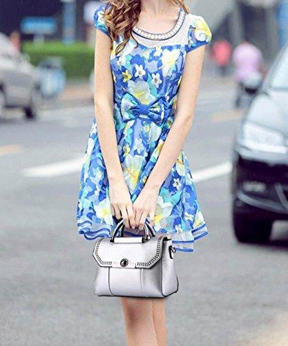 Borsa A Tracolla In Pelle Da Donna Elegante Borsa A Tracolla Moda Borsa Messenger Borsa A Tracolla Delle Donne (nero) Silver