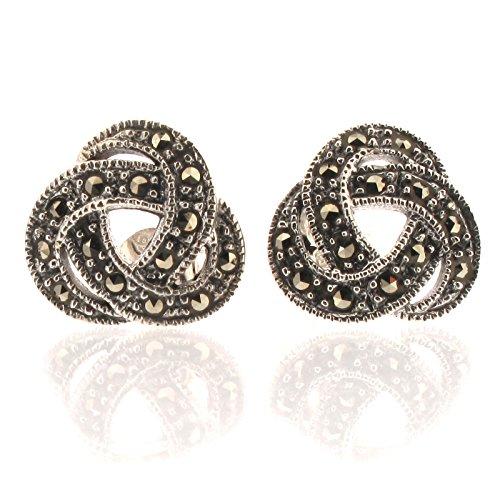 Touch Jewellery Sterling Silber 925 mit Markasit Keltischer Knoten, Ohrstecker Ohrringe