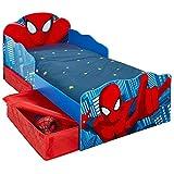Spiderman Kleinkind Bett mit Aufbewahrung und Leuchten Augen Plus Deluxe Schaum Matratze