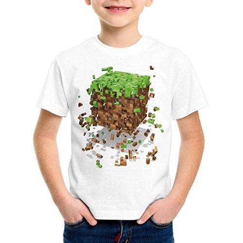A.N.T. Exploding Cube T-shirt per bambini e ragazzi bloc dado cubo videogioco game, Dimensione:152