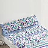 Burrito Blanco - Juego de sábanas 080 para cama 90x190/200 cm, color azul