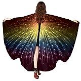 Xmiral Frauen Pfau Flügel Schal Schals, Damen Poncho Kostüm Zubehör Halloween Weihnachten Cosplay Kostüm Zusatz(Mehrfarbig)
