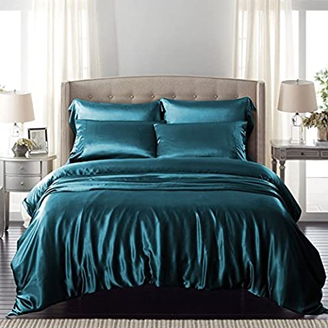 Teal Satin Silk Duvet Sheet Cover Set Double Size 6 pcs By Labelduck