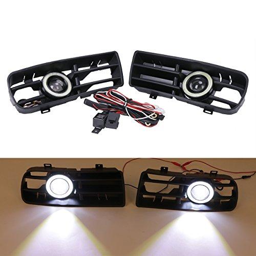 Preisvergleich Produktbild wanoos LED Tagfahrlicht Nebelscheinwerfer Weiß Angel Eyes mit Front Bumper Grill für 1998–2004VW Golf MK4