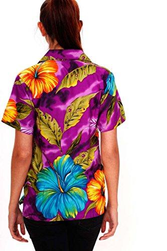 V.H.O. Funky Hawaiibluse Hawaiihemd | Damen | Kurzarm | Front-Tasche | Hawaii-Print | Blumen Blätter Sommer Violett