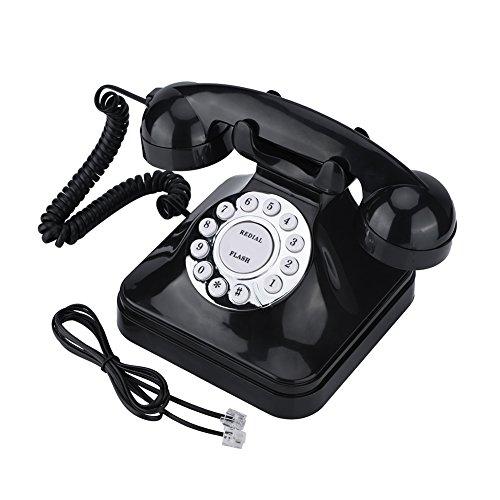 Asixx Retro Telefon, Klassisches Telefon Retro Design mit Wählscheibe Muti-Funktion wie Flash, Wahlwiederholung und Reserve Dekoration für Hause Order Büro, Schwarz