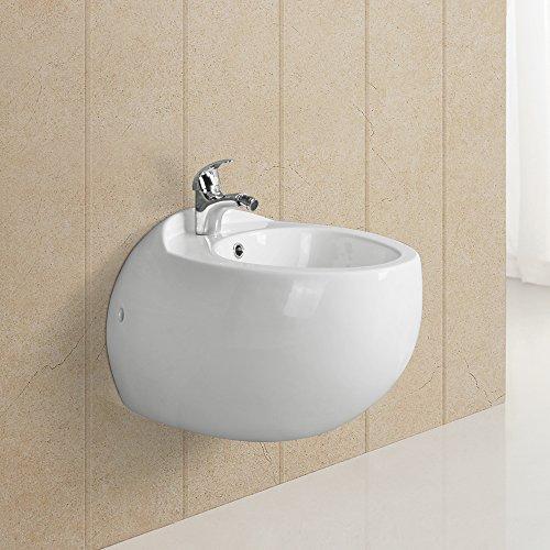 Homelody Weiß Wandbidet Tiefspüler Tiefspül-WC Wandhängend Design Hängebidet Bidet Wand Dusch Keramik Hänge WC/Toilette
