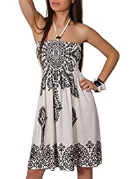 Sommer Bandeau Kleid Holz-Perlen Etno Strandkleid Tuchkleid Tuch Aztec Ranke