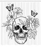 Abakuhaus Duschvorhang, Todes Schädel mit Flower Blumen und Schmetterlinge Vintage Gothic Print Schwarz weiß Druck, Blickdicht aus Stoff inkl. 12 Ringe für Das Badezimmer Waschbar, 175 X 200 cm