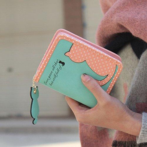 Mini Brieftasche Clutch Piebo Geldbörse Damen Portemonnaie Klein Portmonee mit Reißverschluss und Druckknopf Schicke Kleine Handtasche Geldbeutel Katze Geldtasche für Frauen und Mädchen (D)
