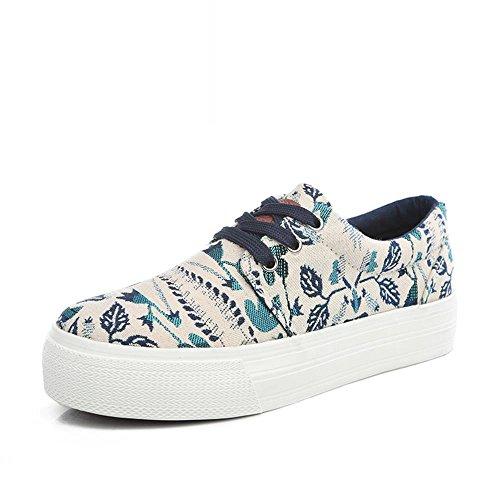 ALUK- Printemps et automne version coréenne de la tendance des chaussures à fond plat chaussures d'impression ( couleur : Bleu , taille : 39 ) Bleu