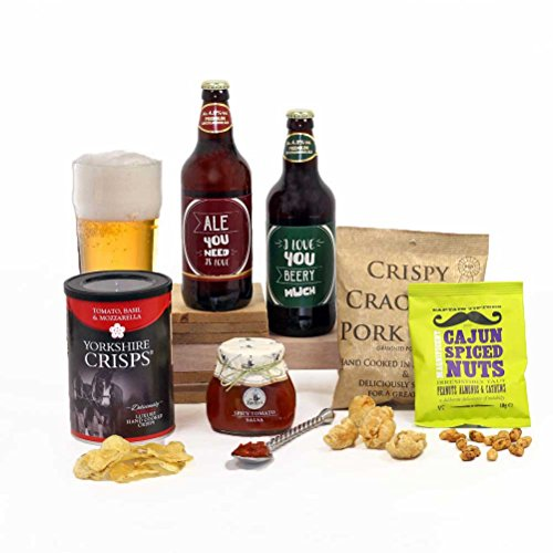 Love You Beery Much Dad Gift - Beer & Nibbles Hamper Box Fun Pun Labels for Him - FREE UK delivery