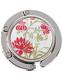 SODIAL(R) Percha de mesa gancho dede bolso plegable impresa flores rojas