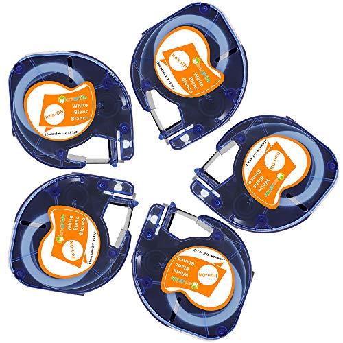 5 Pack kompatibles DYMO Etikettenband zum Aufbügeln 18768 (S071884) 12 mm (0,47 Zoll) für den DYMO Label Manager LT-100H LT-100T XR (Schwarz auf Weiß, Eisen auf Band,12 x 2 m)