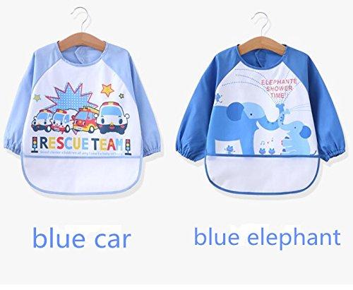 Oral-Q unisex - kinder childs kunst - handwerk gemälde schürze baby wasserdicht lätzchen mit ärmeln & tasche, 6-36 monate, set of 2 (2 of blue)