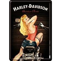Nostalgic-Art 10270 Harley-Davidson - Biker Babe, Blechpostkarte 10x14 cm