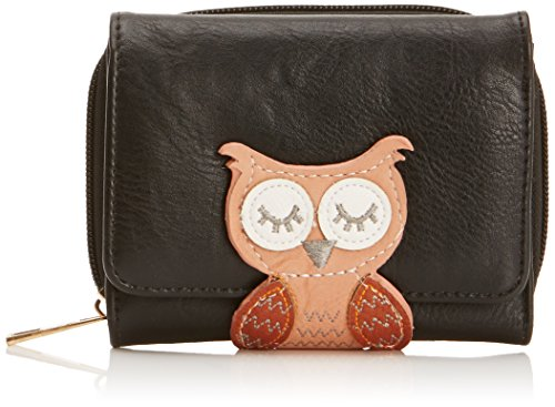 tiny-love-fischer-animal-snap-womens-wallet-purse-oli-owl-cartera-para-mujer-color-negro-talla-talla