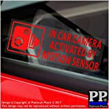 5 x in Auto Kamera durch Bewegungsmelder aktiviert stickers-red/clear-small 87 x 30 mm-vehicle Sicherheit Erkennung Sticker signs-cctv für Auto, Van, LKW, Taxi, Mini, CAB, Bus, Coach