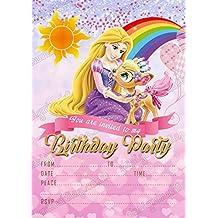 Invitaciones de fiesta de cumpleaños de princesa Disney Rapunzel, 8 tarjetas + sobres gratis