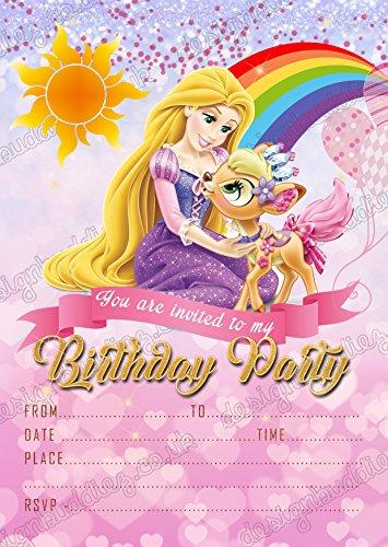 nzel Geburtstag Party Einladungen, Rapunzel Prinzessin Party X 8Karten + kostenlose Umschläge ()