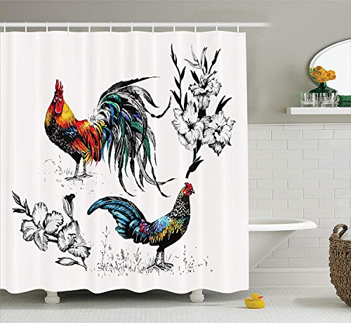 tgyew Gallos Decor Collection, Roosters and Flowers Branches Stems Blooms Grasses Wildflowers Artwork Print, Polyester Fabric Bathroom Shower Curtain, 66x72 inches, Yellow Teal Blue