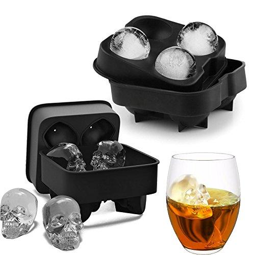 Eiswürfelform, Silikon Eisball Herstellerform Eiswürfelbehälter , Ice Cube Maker in Formen für Whiskey Eis und Cocktails,Maker Candy Schokolade Form Tablett , DIY Werkzeug BPA Freie (Ziemlich Schädel Halloween)