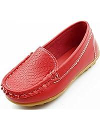 DADAWEN Unisex-Kinder Espadrilles Mocassin Leder Schuhe-Schwarz 28