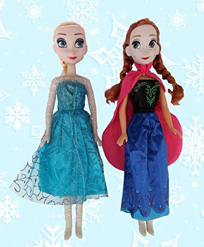 2 Puppen im Set, die Königlichen Schwestern Anna & Elsa, 35 cm - perfektes Geschenk für Mädchen (Disney-puppe Kleid-set)
