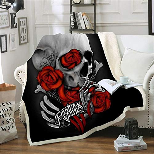HAOTTP Kuscheldecke Ist Super Weiche Schwarze Schädel-Mode-Plüsch-Büro-Waschbare BettKuscheldecke Adul Rose Quilts Sual Throw 130X150Cm -