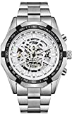 Wrath Skull Collection Silver White Dial Automatic Mechanical Watch for Men's & Boys