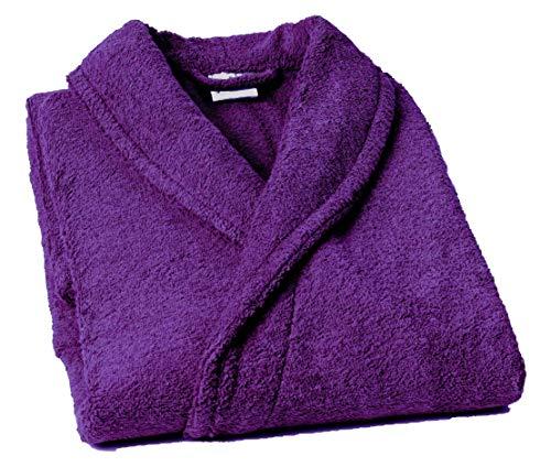 Home Basic - Albornoz con Cuello Tipo Smoking, Talla L, Color Violeta