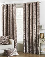 "Deep Pile Crushed Velvet Oyster Beige Lined 46"" X 54"" - 117cm X 137cm Ring Top Curtains by Curtains"