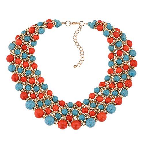 Yazilind Frauen Halskette Türkis Aluminium Kette Erweiterung Kragen Schmuck Retro Ethnische Schlüsselbein Zubehör (Colorized) -