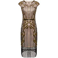 FAIRY COUPLE 1920s Gatsby Vestido con Lentejuelas Embellecido Borlas Dobladillo D20S013(M,Beige Oscuro+Oro)