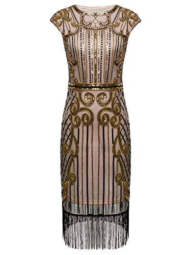 (FAIRY COUPLE 1920er Gatsby Pailletten Verschönert Quasten Saum Flapper Kleid D20S013 (S, Dunkel Beige+Gold))
