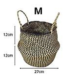 Kleine natürliche gewebte Seegras Korb, Tote Bauchkörbe für Lagerung, Wäsche, Picknick, Blumentopf und Strandtasche (schwarz M)